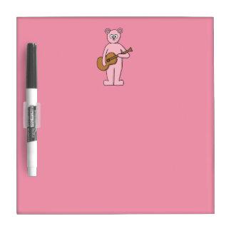 Pink Guitarist Bear Cartoon. Dry-Erase Whiteboard