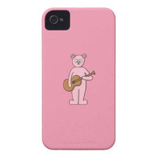 Pink Guitarist Bear Cartoon. iPhone 4 Case