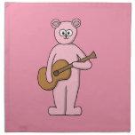 Pink Guitarist Bear Cartoon. Napkins