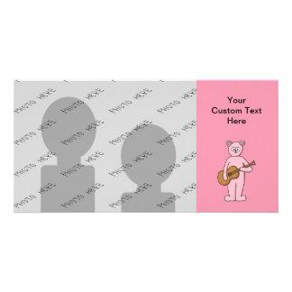 Pink Guitarist Bear Cartoon. Photo Greeting Card