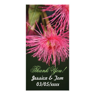 Pink Gum Tree Flower Personalised Wedding Thankyou Picture Card