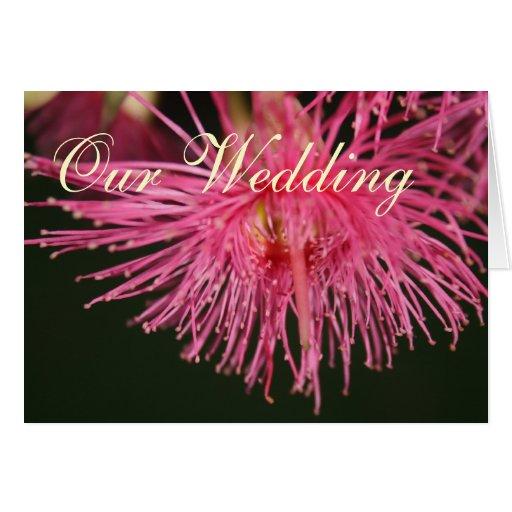 Pink gum tree Flower Wedding Greeting Card