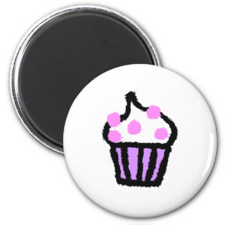 Pink Gumball Cupcake 2 Inch Round Magnet