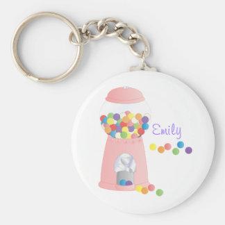 Pink Gumball Machine Basic Round Button Keychain