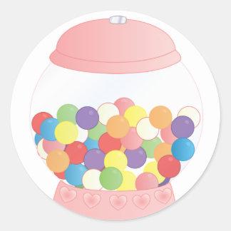 Pink Gumball Machine Round Sticker