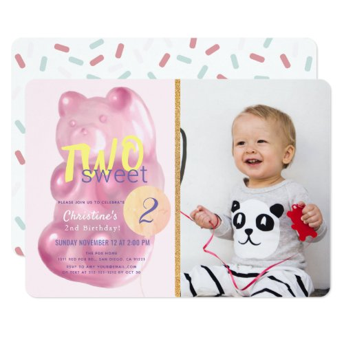 Pink Gummy Bear Two Sweet Girl Photo 2nd Birthday Invitation