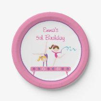 Pink Gymnastics Birthday Paper Plate