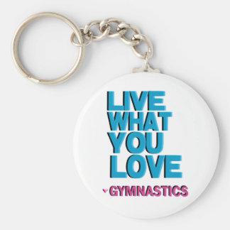 Pink Gymnastics Gifts Basic Round Button Keychain