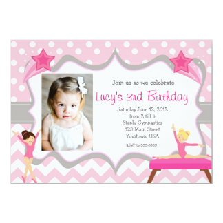 Pink Gymnastics Party Birthday Invitation
