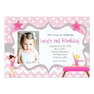 "Pink Gymnastics Party Birthday Invitation 5"" X 7"" Invitation Card"