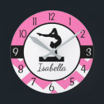 """Pink Gymnastics Wall Clock<br><div class=""""desc"""">This beautiful pink,  black and white gymnastics and chevron design will look perfect in your little athlete&#39;s bedroom. Other matching products available in my store!</div>"""