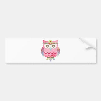 Pink Gypsy Owl Bumper Sticker