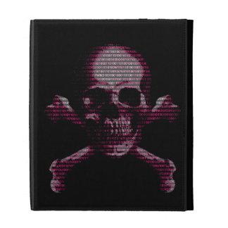 Pink Hacker Skull And Crossbones iPad Folio Cases