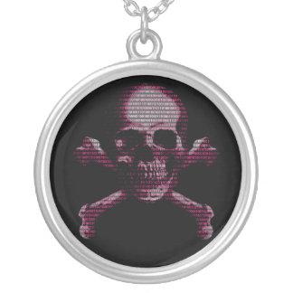 Pink Hacker Skull And Crossbones Round Pendant Necklace