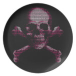 Pink Hacker Skull And Crossbones Party Plate