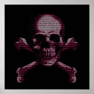 Pink Hacker Skull And Crossbones Poster