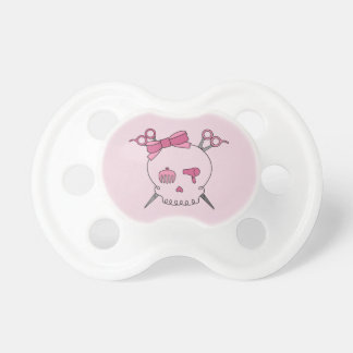 Pink Hair Accessory Skull - Scissor Crossbones #2 Pacifier