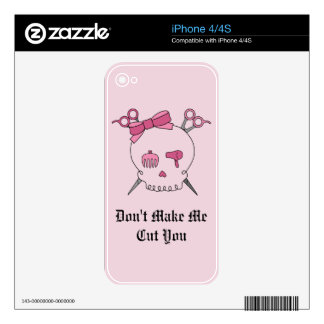 Pink Hair Accessory Skull - Scissor Crossbones 2 Decal For iPhone 4S