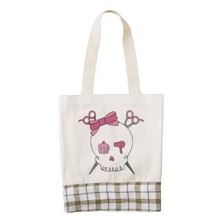 Pink Hair Accessory Skull -Scissor Crossbones Zazzle HEART Tote Bag