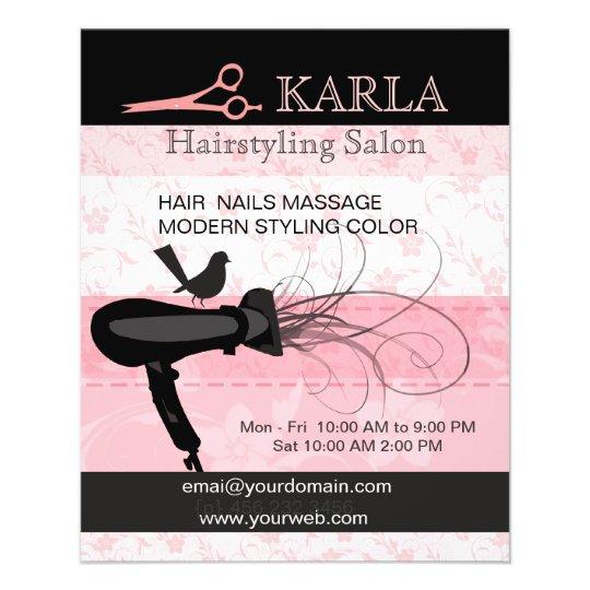 Pink Hair Beauty Salon Stylist Care Hairstylist Flyer