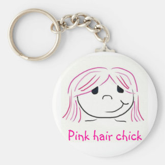 Pink hair chick keychain
