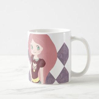 Pink hair&cute little girl coffee mug