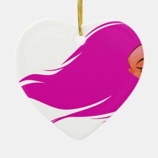Pink Hair Girl Ceramic Ornament