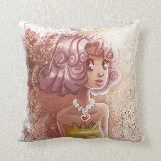 Pink Hair Heart Necklace Girl Throw Pillows