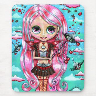 Pink Hair Hearts and Kisses Fairy Big Eyes Mouse Pad