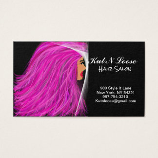 Pink Hair Lady Hair Stylist Standard Business Card