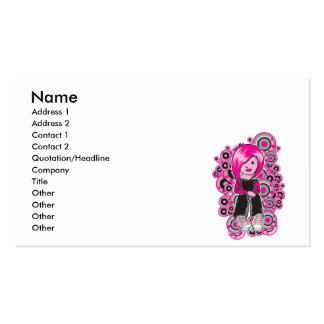 pink hair punk emo girl vector art business card