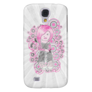 pink hair punk emo girl vector art galaxy s4 cover