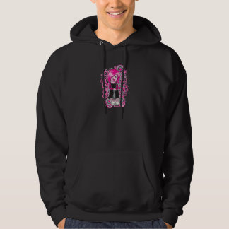 pink hair punk emo girl vector art hoodie