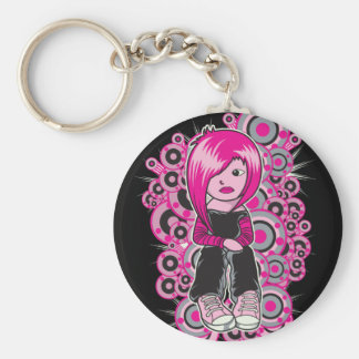 pink hair punk emo girl vector art keychains