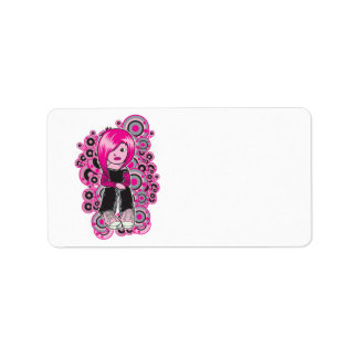 pink hair punk emo girl vector art personalized address labels