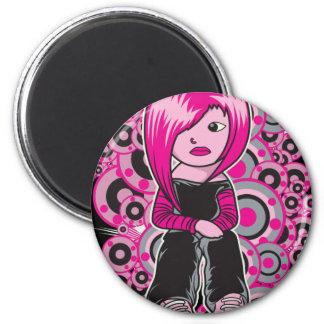 pink hair punk emo girl vector art fridge magnets