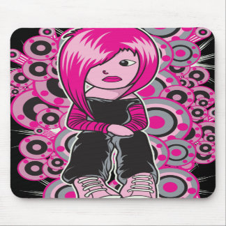 pink hair punk emo girl vector art mouse pads