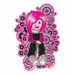 pink hair punk emo girl vector art photo sculpture