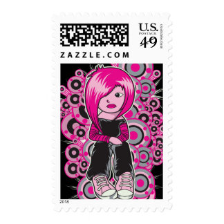 pink hair punk emo girl vector art postage stamps