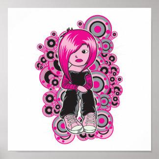 pink hair punk emo girl vector art posters