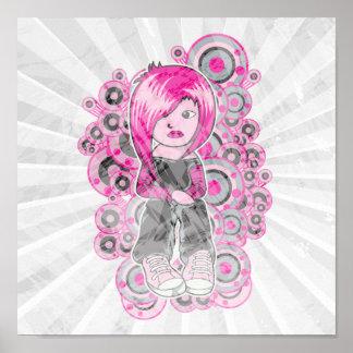 pink hair punk emo girl vector art print