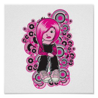 pink hair punk emo girl vector art posters