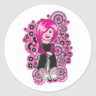 pink hair punk emo girl vector art stickers