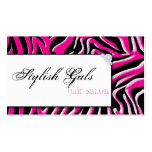 Pink Hair Salon Zebra Print Modern Business Card