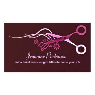 pink hair scissors business card standard business cards