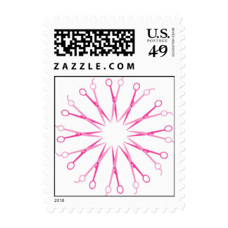 Pink Hair Stylist Shear Wreath Postage Stamp