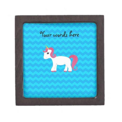 Pink hair unicorn blue chevrons premium gift box