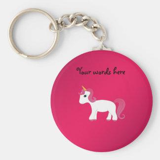 Pink hair unicorn basic round button keychain