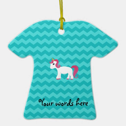 Pink hair unicorn turquoise chevrons Double-Sided T-Shirt ceramic christmas ornament