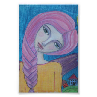 Pink Haired Angel, 4x6 print Photo